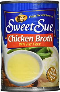 SWEET SUE Canned Chicken Broth, 14.5 Ounce Cans (Pack of 24), Fat Free, Great for Chicken Noodle Soup or Chicken and Rice Soup, Packaged Chicken Broth for Use in Chicken Creations,