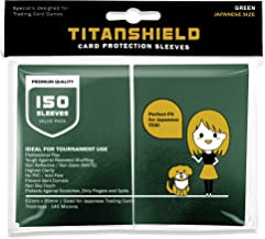 TitanShield (150 Sleeves/Green Small Japanese Sized Trading Card Sleeves Deck Protector for Yu-Gi-Oh, Cardfight!! Vanguard...