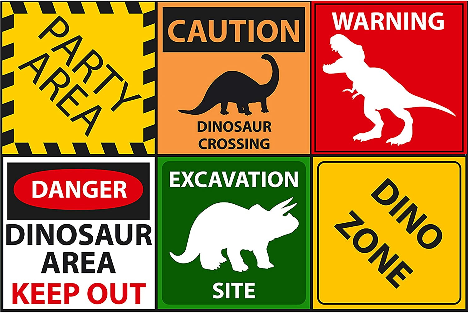 Amazon Com Dinosaur Party Sign 6 Cutouts Dino Party Decorations T Rex Party Supplies Room Decorations Party Signs Home Kitchen