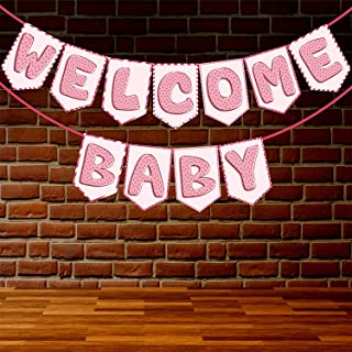 Wobbox Baby Shower Bunting Banner Pink Welcome Baby Girl, Welcome Banner for Decoration, Baby Shower Banner for Decoration