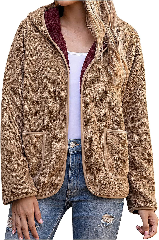 Haozin Women's Casual Hooded Fleece Jacket Shaggy Color Blocking Lightweight Coat Outerwear With Pockets