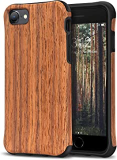 TENDLIN Compatible with iPhone SE 2020 Case/iPhone 7 Case/iPhone 8 Case [Protection Model] Wood Grain Outside TPU Hybrid C...