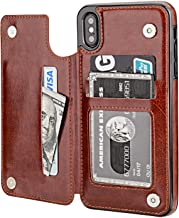 iPhone Xs Max Genuine Brown Leather Card Holder Slots Wallet Flip Folio Folding Magnetic Clasp Kickstand Case for iPhone Xs Max Case Cover 6.5 inch