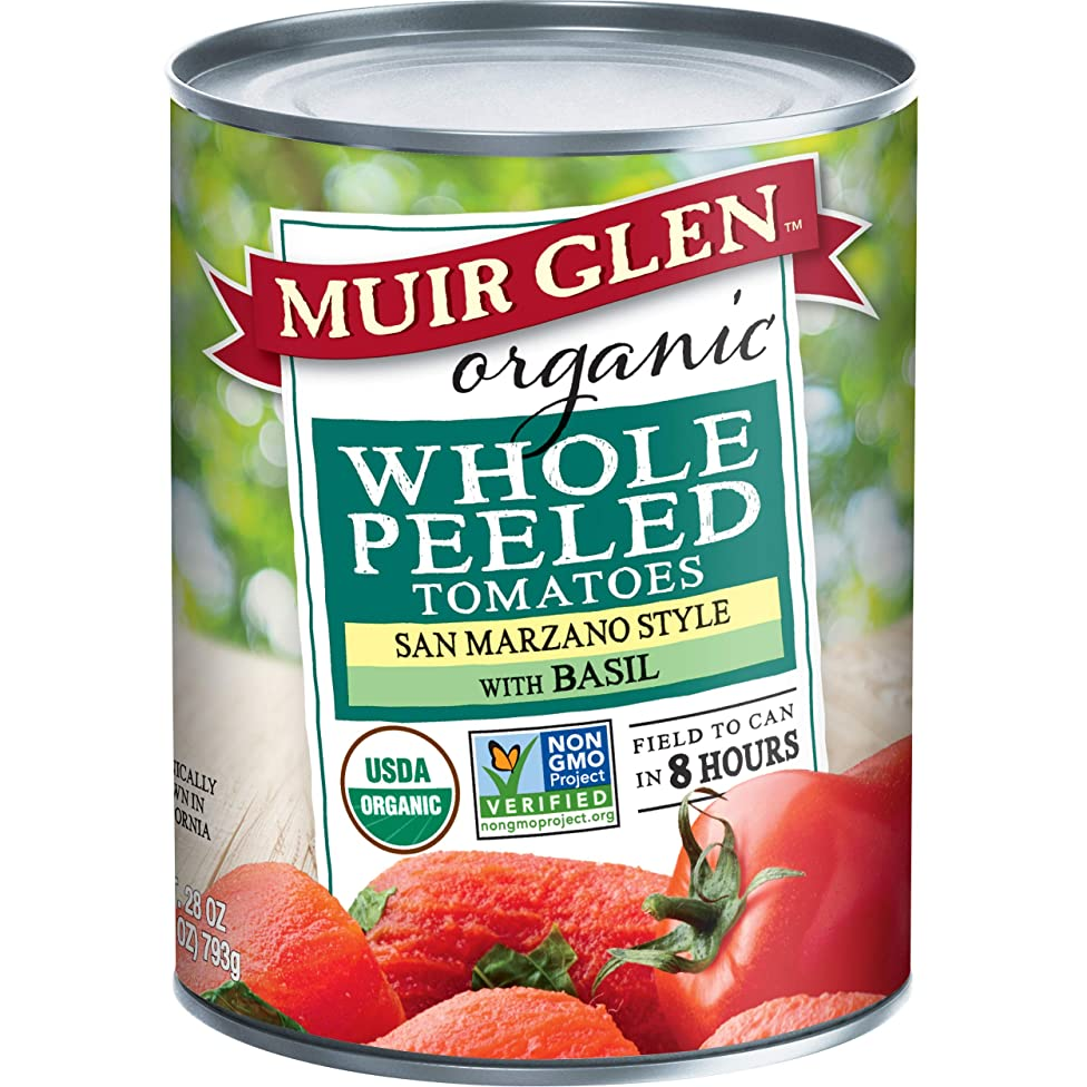 Muir Glen Canned Tomatoes, Organic Whole Peeled Tomatoes, San Marzano Tomatoes with Basil, No Sugar Added, 28 Ounce Can (Pack of 12)