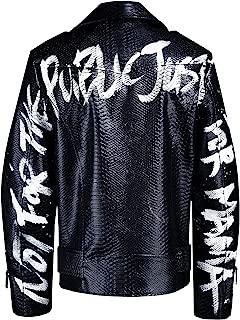 ByTheR Mens Custom Slogan Sleeve Hand Painted Python Jacket Punk Style Rock
