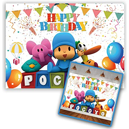 Cartoon Photo Backdrops Pocoyo Theme Children Birthday Party Colorful Balloons Photographic Backdgrounds for Studio Photo Background Party Wall Decoration