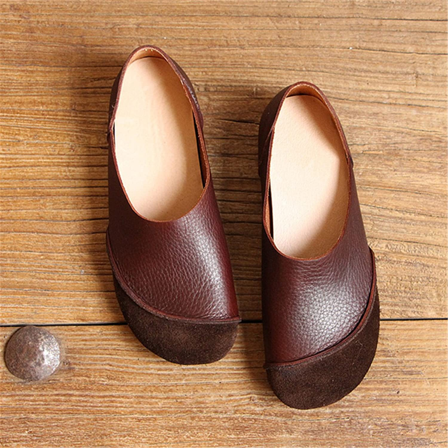 Socofy Flat Loafers,Women's Leather color Match Soft Slip On shoes,Round Toe Wild Driving Casual shoes Brown 8 B(M) US