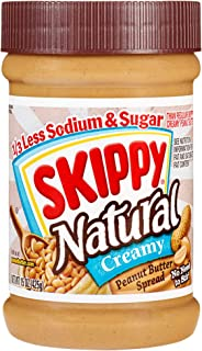 SKIPPY Natural 1/3 Less Sodium & Sugar Peanut Butter Spread, 15 Ounce (Pack of 12)