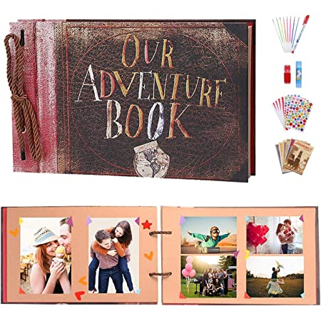 ZHENGJIANG Album Foto 29cmX19cm ,Album Fotografico 80 Pagine Bianche Vintage Our Adventure Book Miglior Regalo di Compleanno/Laurea/Nozze