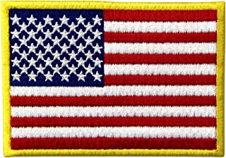 EmbTao American Flag Embroidered Patch Gold Border USA United States of America Military Uniform Iron On Sew On Emblem
