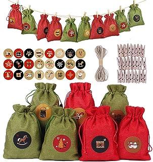 Christmas Countdown Calendar Bag 24Pcs DIY Christmas Calendar Bag with 1-24 Advent Number Stickers Christmas Sack Advent B...