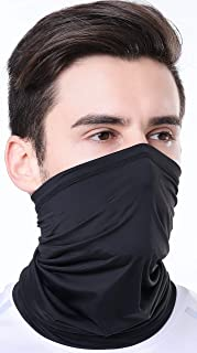 Summer Face Mask Protection from Dust, UV & Aerosols - Washable Neck Gaiter Balaclava, Bandana Face Cover UPF50++ (Black)