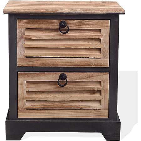 camera da letto Comodino in legno stile retr/ò con 2 cassetti per soggiorno comodino in legno 43 x 35 x 49,5 cm