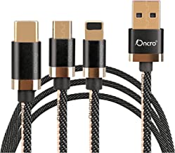 ONCRO® Black 3.0A 3 in 1 Cable Nylon Duo Jean Braided Fast/Rapid/Super Charging Cable for Micro USB, iPhone & Type C Devices. 3.3 ft Compatible with Most Devices
