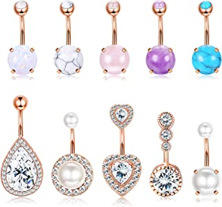 Belly Button Rings for Women Men 14G 316L Stainless Steel CZ Opal Belly Navel Rings Barbell Body Piercing Jewelry
