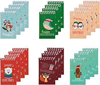 Spiral Notepad - 24-Pack Top Spiral Notebooks, Bulk Mini Spiral Notepads for Note Taking, to-do Lists, Kids Xmas Party Favors, Stocking Stuffer, Lined Paper, 6 Christmas Holiday Designs, 3 x 5 Inches