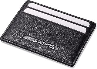 AMG Mercedes Benz Slim Wallet Black with 4 Credit Card Slots - Genuine Leather