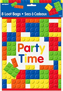 Unique Party Building Blocks Birthday Lootbags (Pack of 8) (UK Size: One Size) (Multicoloured)