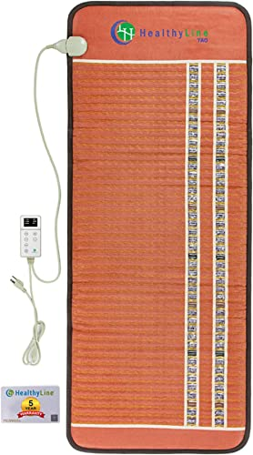 """HealthyLine Far Infrared Heating Pad - 60"""" x 24"""" Firm Mat Filled with Amethyst, Tourmaline and Obsidian Crystals - Ne..."""