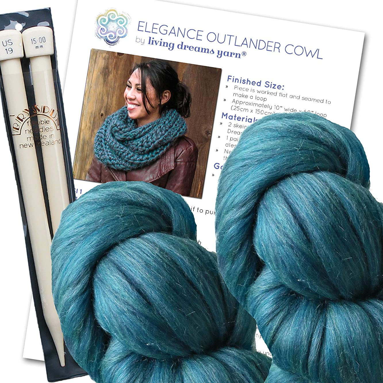 Super Chunky Cowl KNIT KIT includes Soft Thick Merino Silk Yarn, Big Needles and Written Pattern w. Photo Tutorial. Elegance Outlander Cowl Kit, SAPPHIRE
