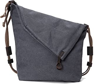 Retro Canvas Bag, JOSEKO Women Vintage Messenger Bag Genuine Leather Canvas Crossbody Bag Tribal Rucksack