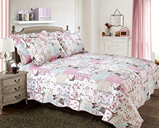 """PATCHWORK BUTTERFLY STAMP FLORAL QUEEN SIZE BED (UK KING SIZE BED) BEDSPREAD 100"""" X 104"""" - 250CM X 264CM"""