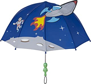 Kidorable Blue Space Hero Umbrella for Boys w/Fun Alien Handle, Pop-Up Spaceship, Astronaut