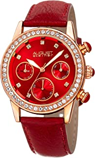 August Steiner Swarovski Crystal Studded Women's Watch with Casual Genuine Leather Bracelet Strap, Sunray Dial and Multifunction Day, Date and AM/PM - AS8236