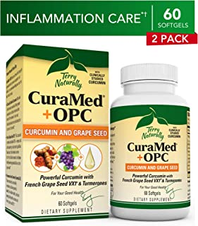 Terry Naturally CuraMed + OPC (2 Pack) - 60 Softgels - BCM-95 Curcumin & French Grape Seed VX1 Supplement, Supports Brain, Heart, Colon, Prostate & Liver - Non-GMO, Gluten-Free - 60 Total Servings