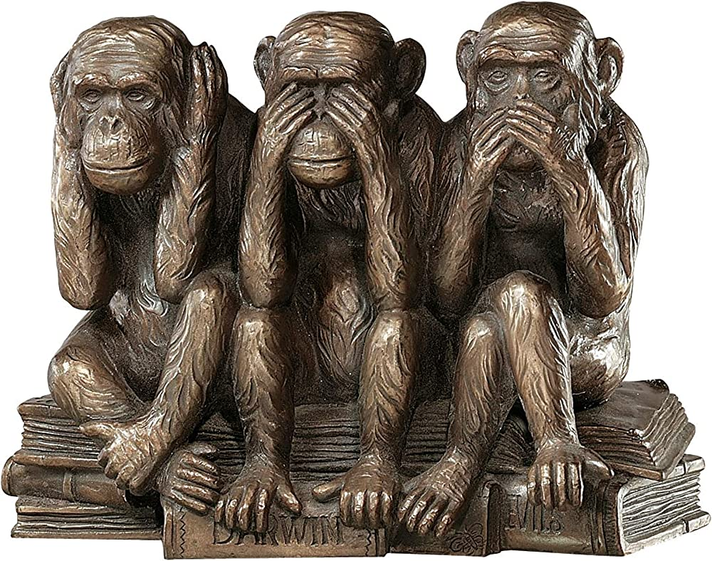 design toscano, statua a forma di scimmie, in poliresina, finitura color bronzo, misure 18 x 9 x 12,5  cm pd0093
