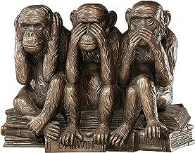 طراحی Toscano Hear-No، See-No، Speak-No Evil میمون تندیس حیوانات سه حقیقت مجسمه انسان ، 7 اینچ ، Polyresin ، پایان برنز