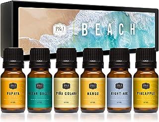 Beach Set of 6 Premium Grade Fragrance Oils - Ocean Breeze, Papaya, Pina Colada, Mango, Pineapple, and Night Air