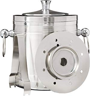 Ice Bucket with Tongs, Insulated Double Wall Design, Premium Quality Brushed Stainless Steel, Handles, Great as a Gift, Perfect for Parties as a Champagne Bucket, Wine Chiller, Beer Bucket or Ice Box