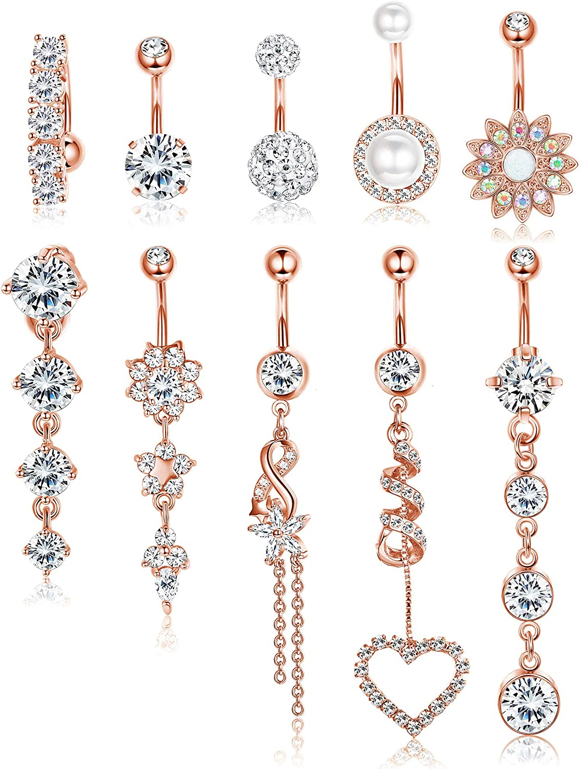 Udalyn 10 PCS Belly Button Rings for Women Girls Navel Rings Surgical Steel 14 g Body Jewelry for Women Piercings Belly
