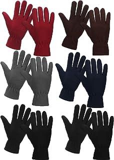 6 Pairs Winter Fleece Gloves Full Fingers Warm Mittens Gloves for Women Men