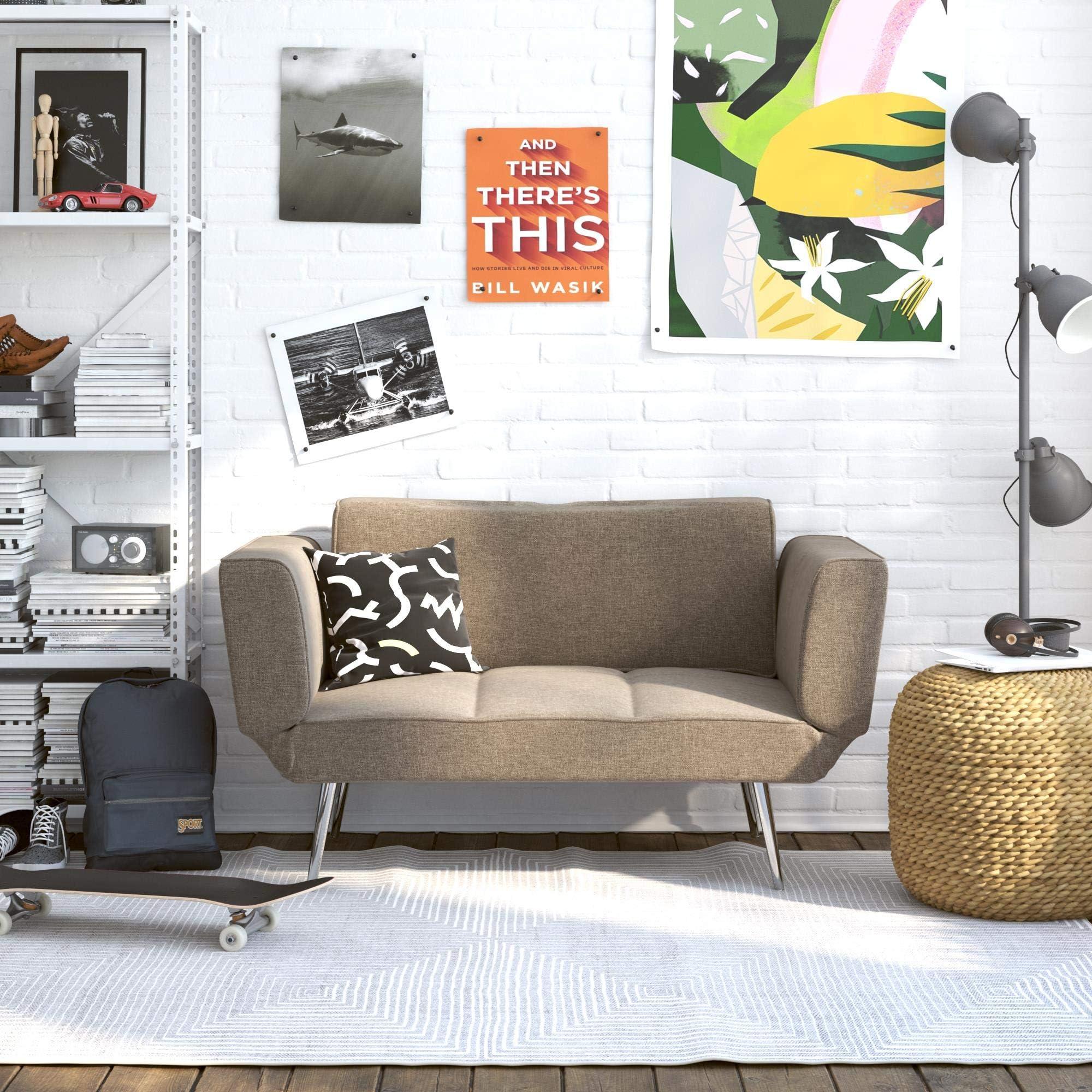 Novogratz Leyla Loveseat, Multifunctional and Modern Design, Adjustable Armrests to Create a Couch Sleeper -Grey