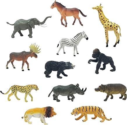 "75 ZOO ANIMALS 2/"" TOY PLAYSET TIGER HIPPO LION CHEETAH GIRAFFE ZEBRA RHINO MOOSE"