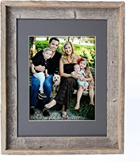 BarnwoodUSA 16X20 Inch Signature Picture Frame Matted for 11X14 Photos - 100% Reclaimed Wood, Cinder Mat