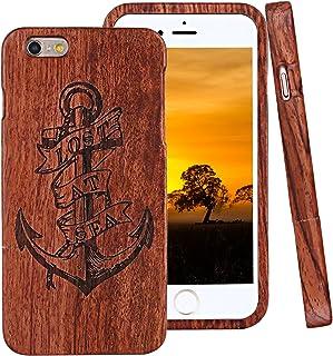 ad9985601e9 iPhone 6 Funda de Madera, ZXK CO Fundas Protectiva Carcasa de Madera Duro  Case con