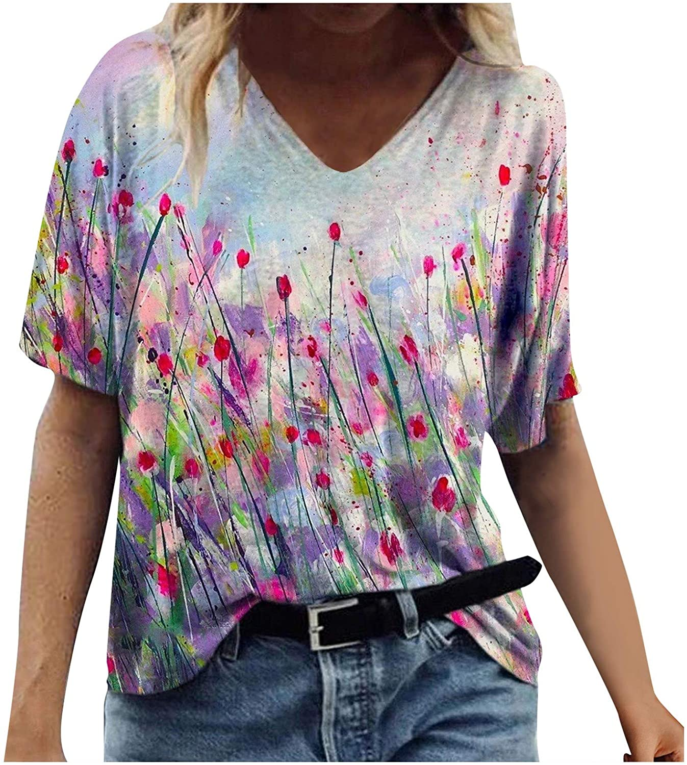 AODONG Summer Tops for Women,Valentines Days Shirts for Women Plaid Printing T Shirts Casual Love Heart Blouses Tops