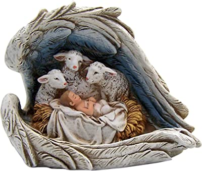 Christian Brands Catholic Sheep at Manger Figurine