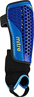 Mitre Aircell Carbon Ankle Protect Football Shin Pads - Blue/Cyan/Yellow, Large by Mitre