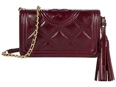Tory Burch Fleming Soft Glazed Wallet Crossbody (Royal Burgundy) Handbags