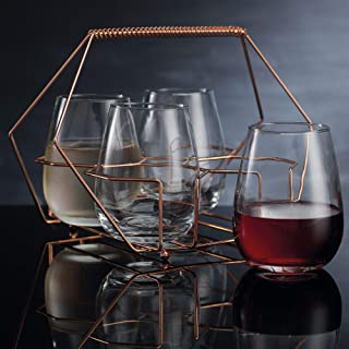 9735b28535c Home Essentials Cellini 5 Pieces Copper Stemless Glass Caddy Drinkware