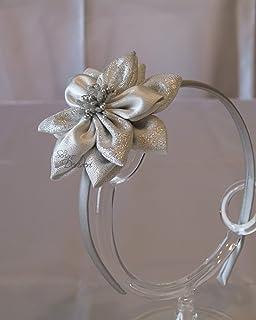 Cerchietto fascinator argento con fiore e pistilli