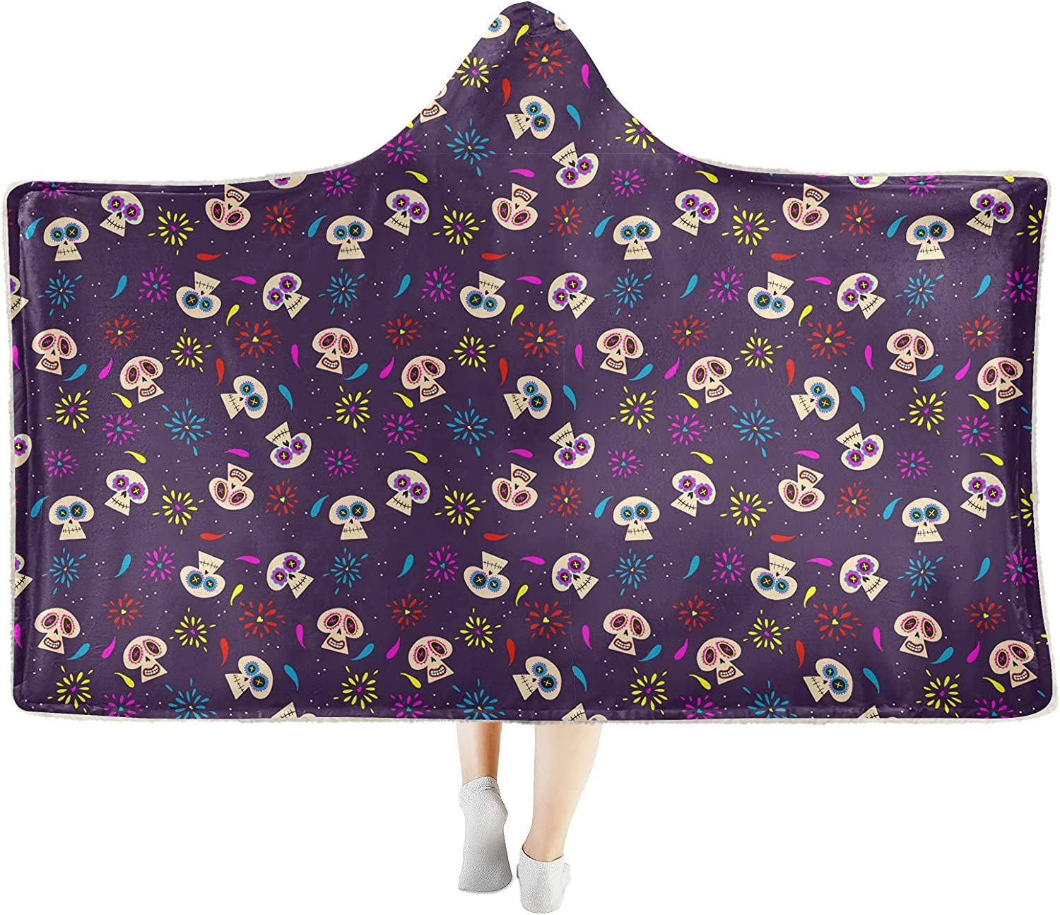 Colorful OFFicial shop Flower Skull Halloween Wearable Blanket Hooded Soft Coz Ranking TOP3