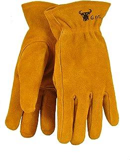 G & F 5013L JustForKids Kids Genuine Leather Work Gloves, Kids Garden Gloves, 7-9 Years Old