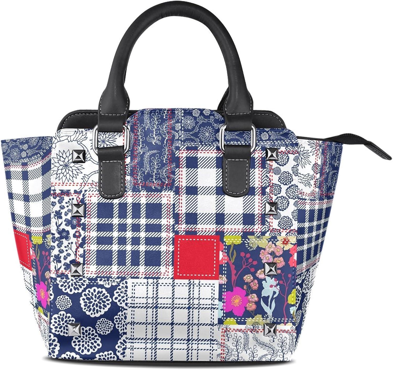 My Little Nest Women's Top Handle Satchel Handbag Vintage Poppies bluee White Red Patchwork Ladies PU Leather Shoulder Bag Crossbody Bag