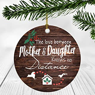 Merry Christmas Ornament Two State Map New York American Samoa - The Love Between Mother And Daughter Knows No Distance - Christmas Ideas Gift Long Distance Mom And Daughter Ornament 3