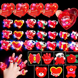 AMENON 28 Pack Hearts Filled 28 Light Up Rings Valentines Party Favor Bear Toys with Valentines Day Cards-Classroom Exchan...